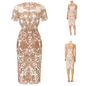 MARCHESA NOTTE Metallic Jaipur Sheath Dress 000